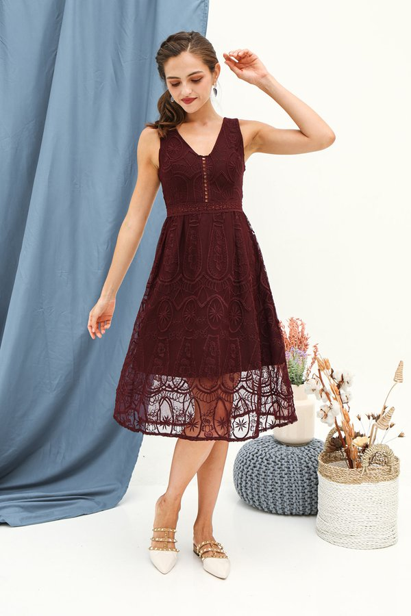 Luxe Labyrinth Lace Cocktail Dress Burgundy Red