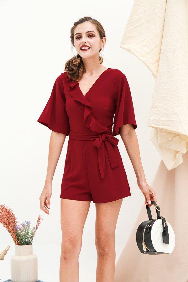 Full Frills Kimono Romper Burgundy Red