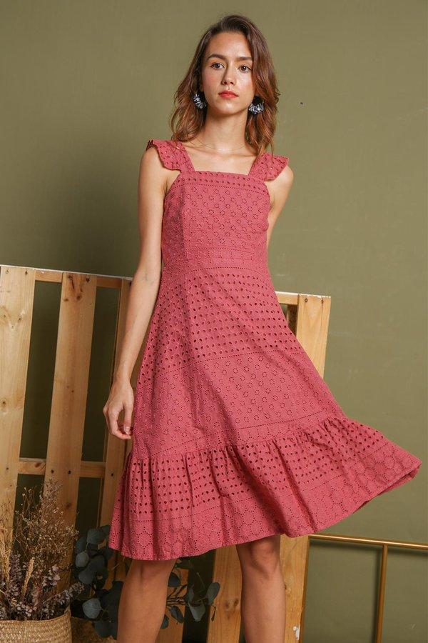 Fluttery Eyelets Midi Dress Tea Rose