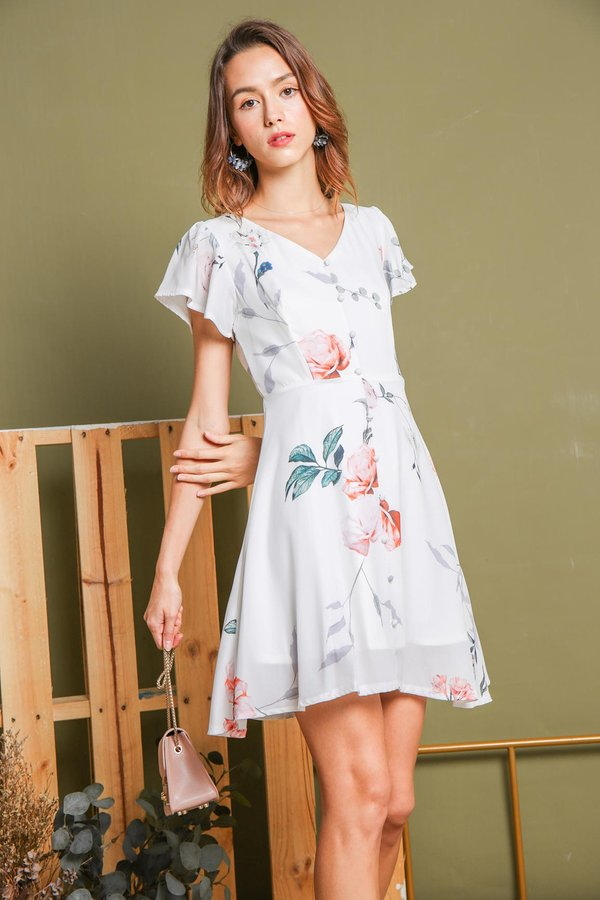 Nature in Buttons Floral Dress White