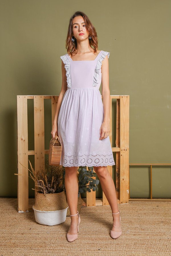 Eyelets Trimmed Angles Babydoll Dress Lilac