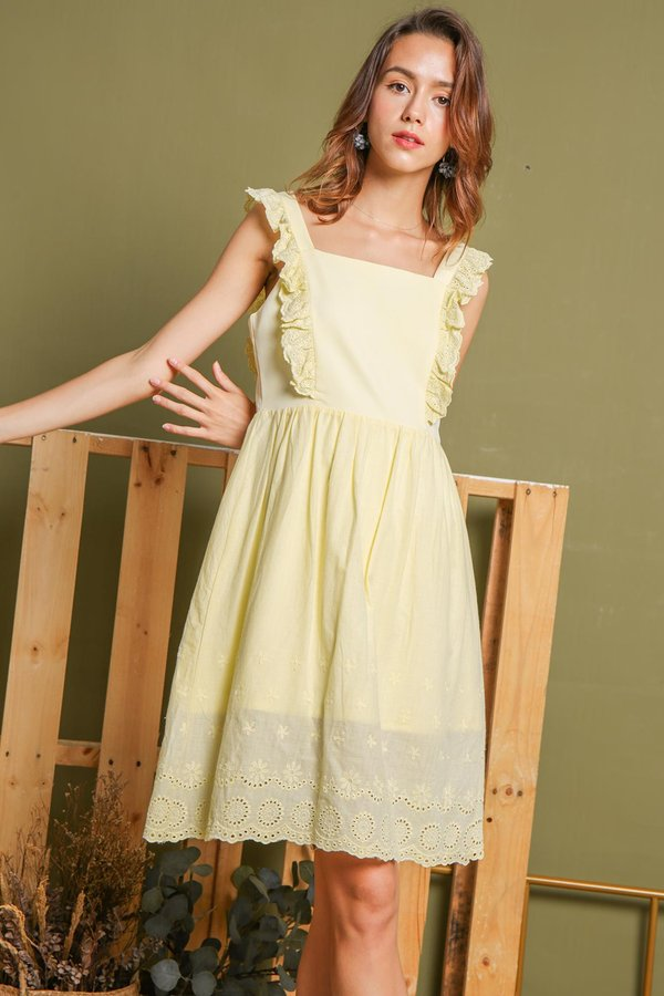 Eyelets Trimmed Angles Babydoll Dress Yellow
