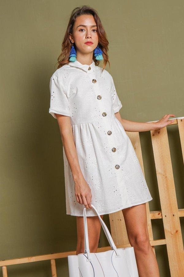 Crisp Credences Eyelet Button Shirt Dress