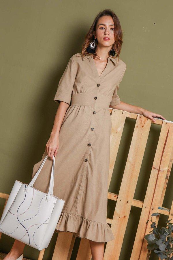 Safari Sand Button Linen Midi Shirt Dress