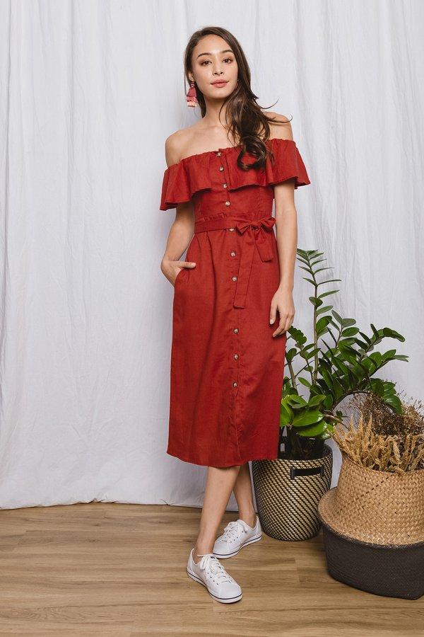 Regally Rosewood Button Midi Dress