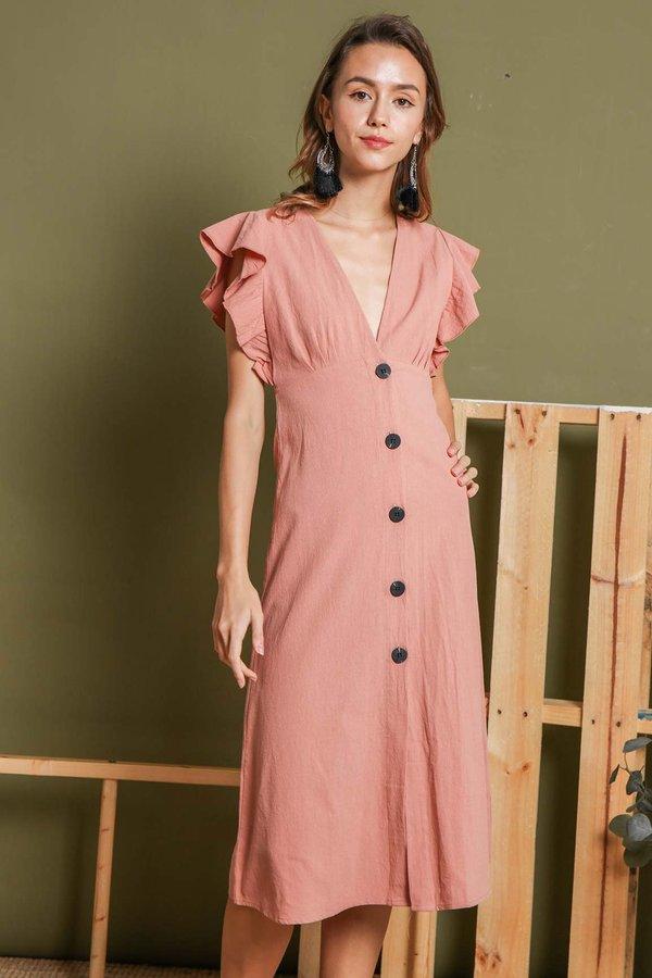Rustling Rosewood Button Linen Midi Dress