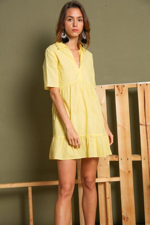 Borrowed from the Boys Shirt Dress Yellow