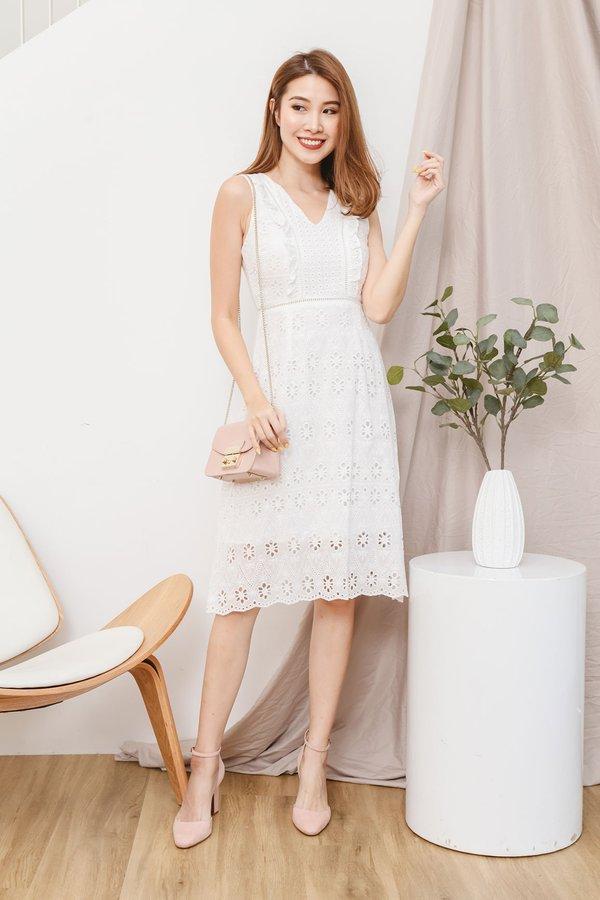 Eyelet Niceties Dress White