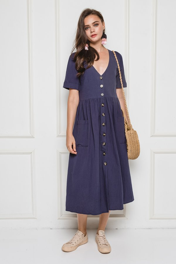 Buttoned Babe Maxi Dress Navy Blue