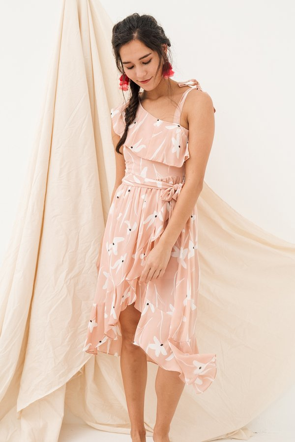 Thy Florals Come Midi Dress Pink Paddy Fields