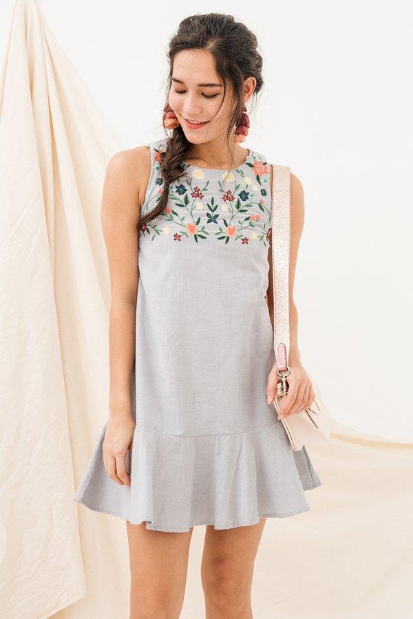 Resolute Embroidery Dropwaist Dress Grey