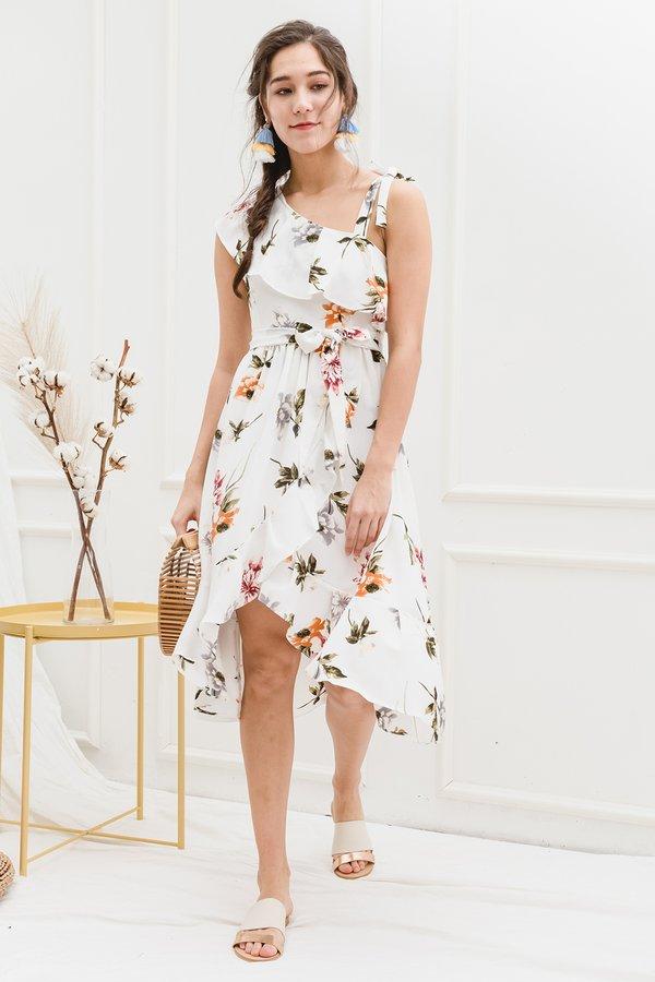Thy Florals Come Midi Dress White Florals
