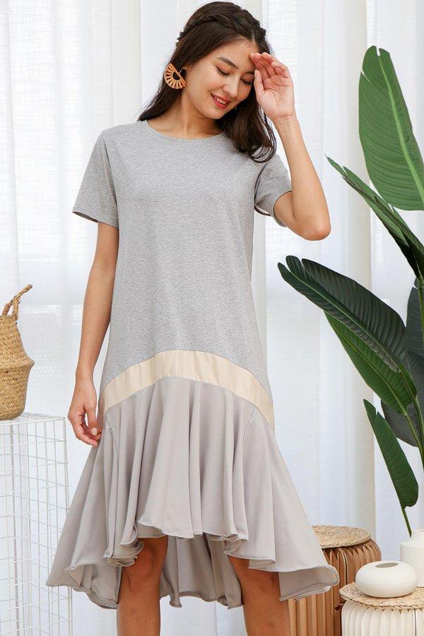 Zoom in Comfy Swirls Ruffle Midi Dress Ash Grey