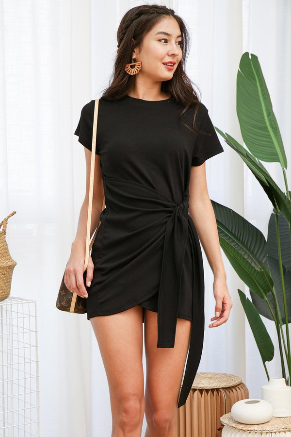 From Workout to Work Knotted Tee Dress Black