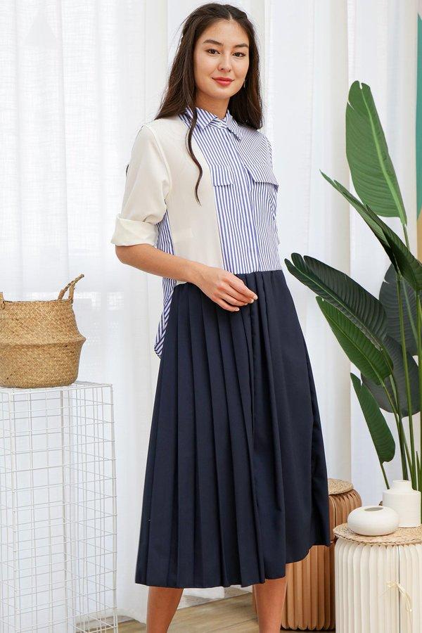 Precisely Preppy Nautical Stripes Midi Shirt Dress