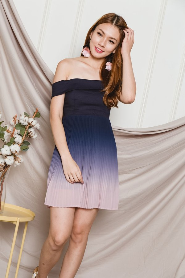 Ombre Oomph Pleated Dress Pastel Sky