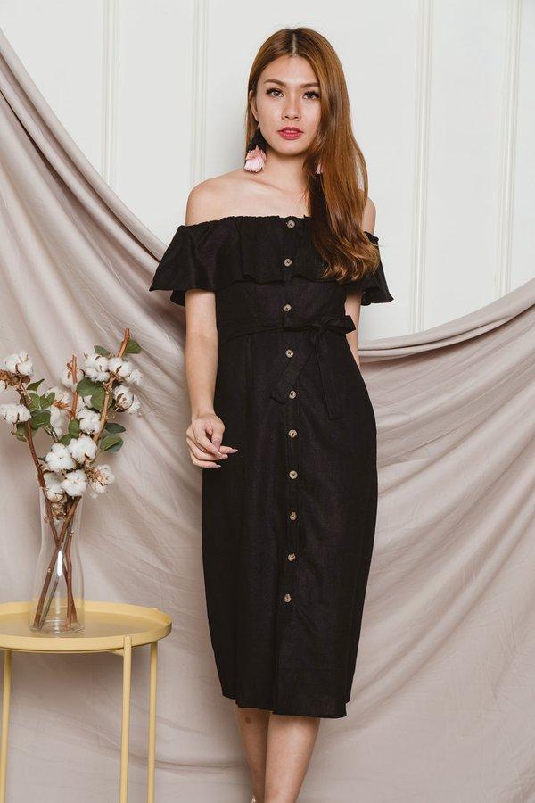 Regally Rosewood Button Midi Dress Black