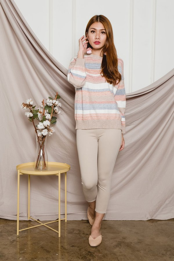 Rainbow Pastels Knit Pullover Warm