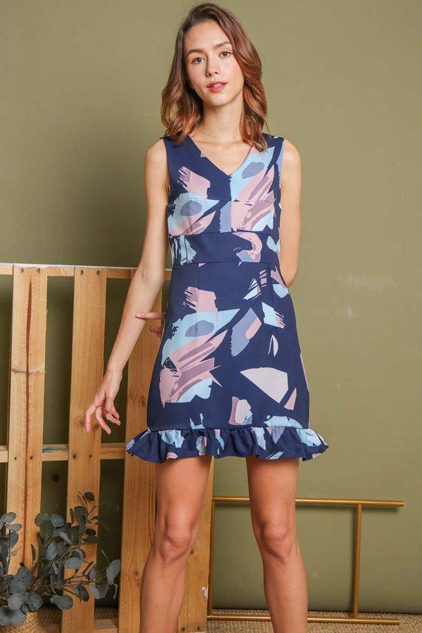 Absolute Abstraction Ruffle Hem Dress Navy Blue