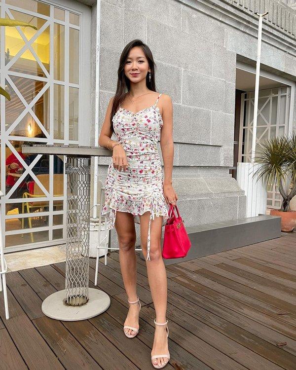 Floral Mural Ruched Drawstring Cami Dress