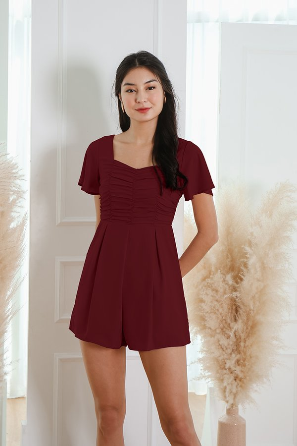 A Clever Ruse Ruched Romper Burgundy Red