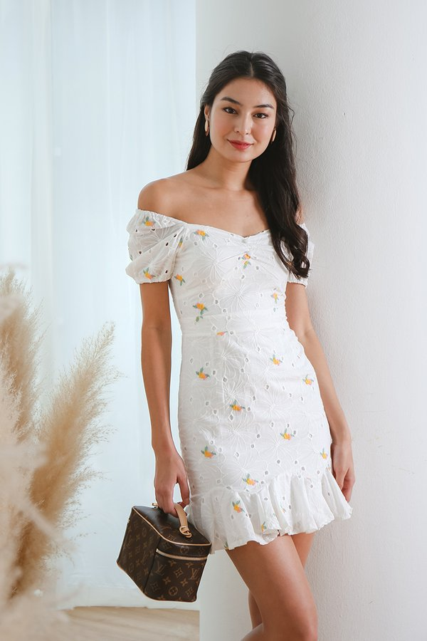 Farmhouse Whimsy Eyelet Puff Sleeve Dress White Florals