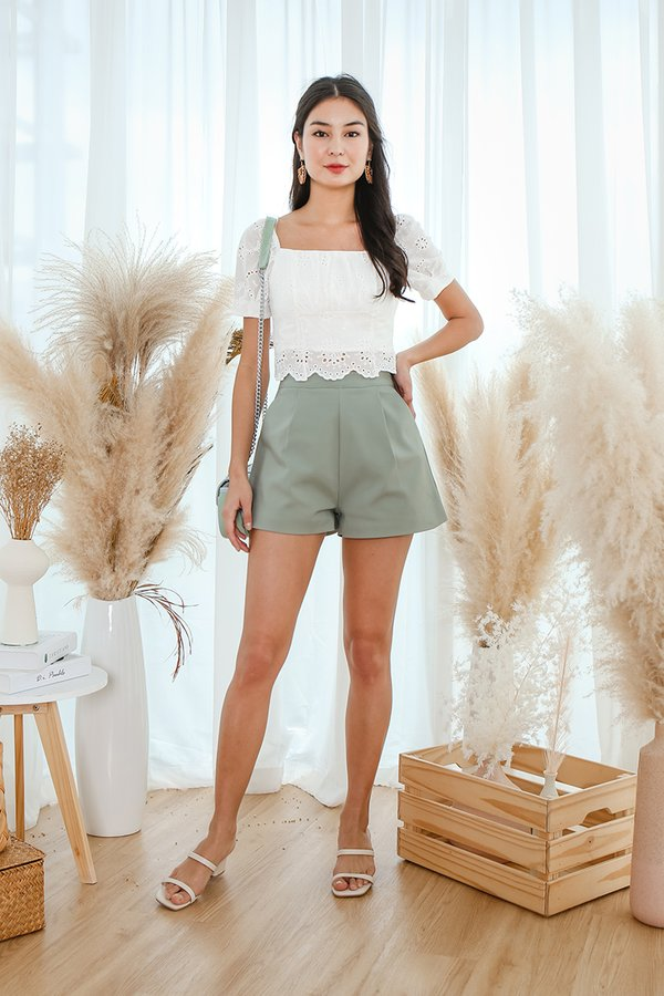 Scallop Whispers Eyelet Ruched Crop Top White