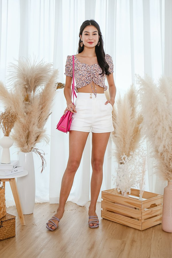 Fierce By Nature Floral Ruched Crop Top Pink