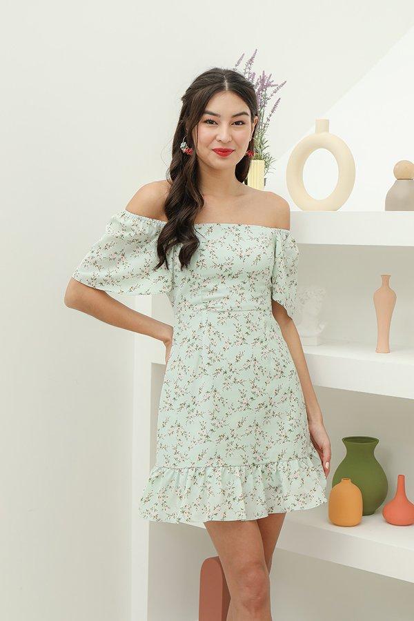 Flutterly Fabulous Floral Dress Jade Mist