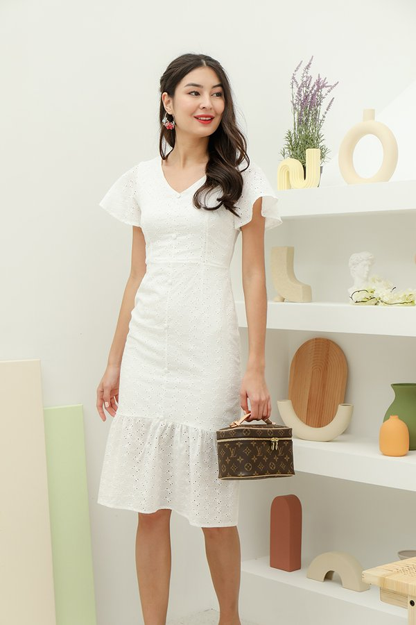 Pathway Paved Buttons Eyelet Midi Dress White