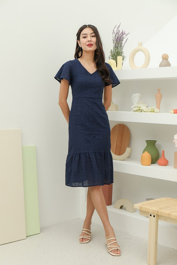 Pathway Paved Buttons Eyelet Midi Dress Navy Blue