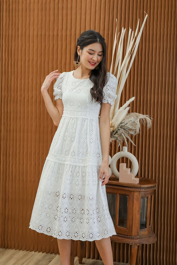 Realm of Dainty Eyelet Tier Midi Dress White