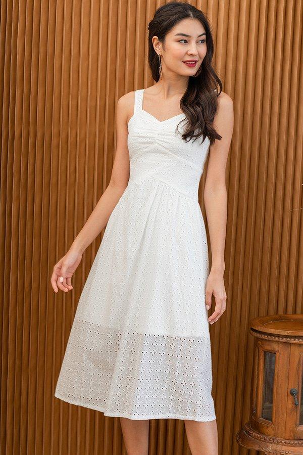 Rustic Eyelet Elements Midi Dress White