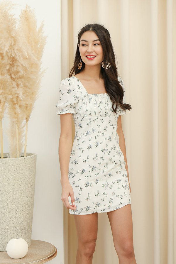 Primroses and Pleasantries Floral Ruched Dress White