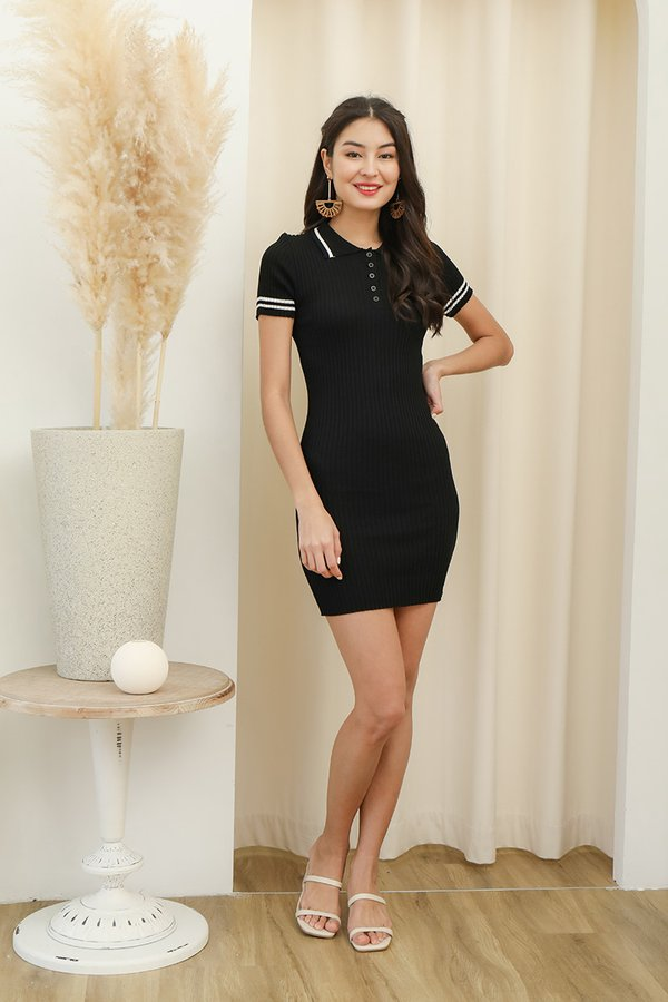 Sport in Your Step Ribbed Knit Tee Dress Black