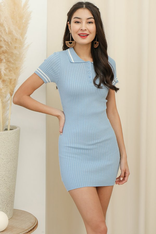 Sport in Your Step Ribbed Knit Tee Dress Sky Blue