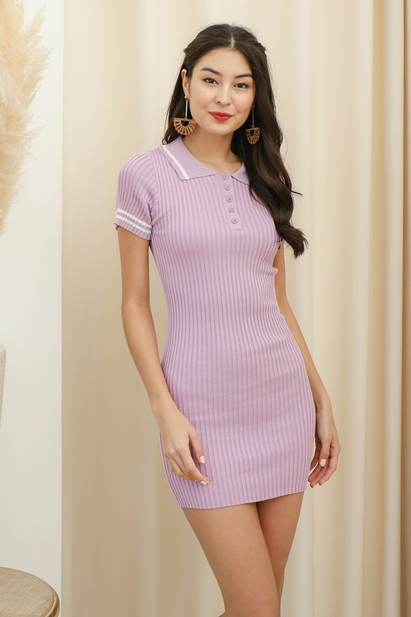 Sport in Your Step Ribbed Knit Tee Dress Lilac