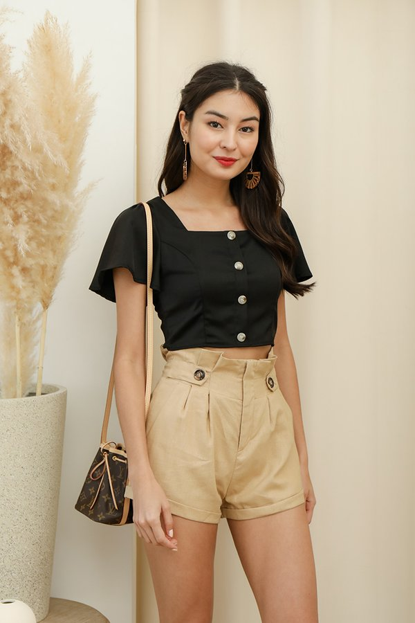 Sunday Niceties Button Crop Top Black