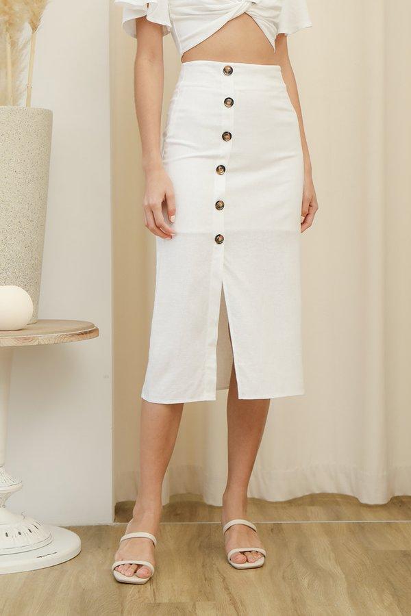 Etchings on Linen Button Midi Skirt White