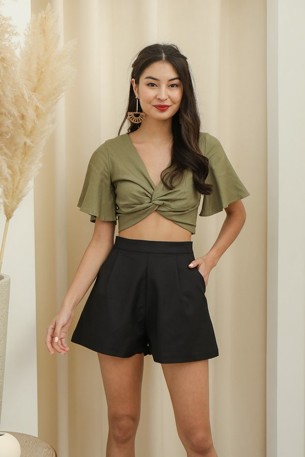 Twisted Luxe Linen Knot Top Olive Green