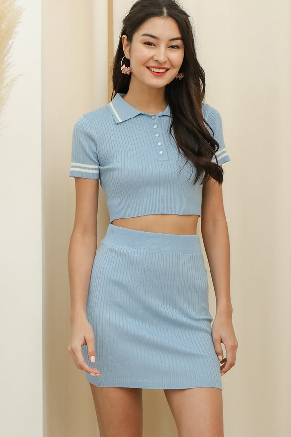 Equal Parts Sporty Ribbed Knit Two Piece Set Sky Blue