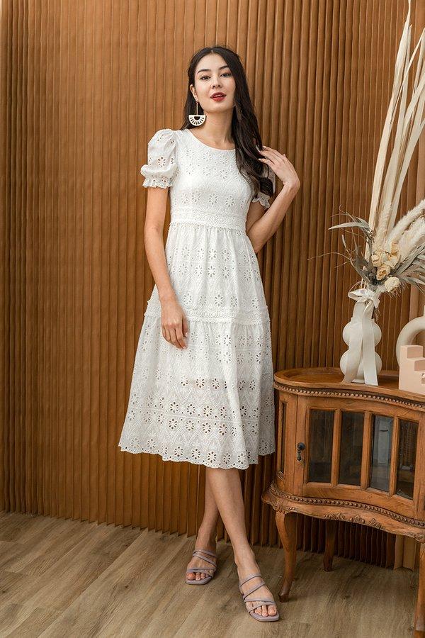 Realm of Dainty Eyelet Tier Midi Dress White