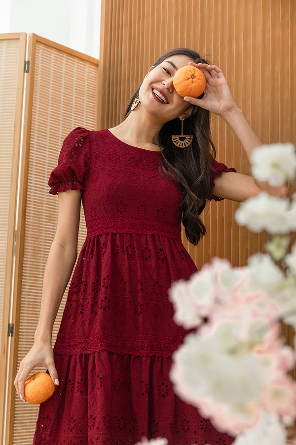 Realm of Dainty Eyelet Tier Midi Dress Burgundy Red