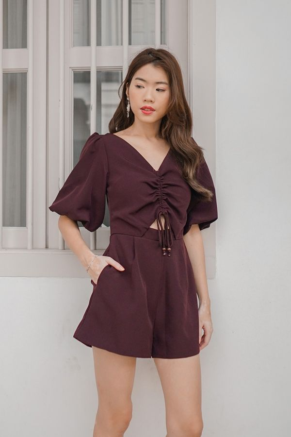 Lo and Be Scrunched Drawcord Romper Burgundy Red