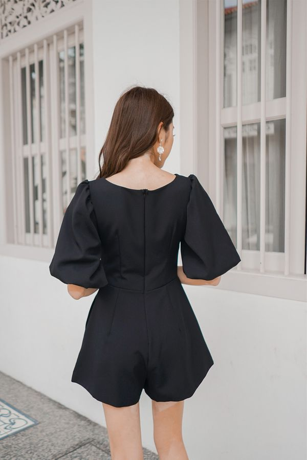 Lo and Be Scrunched Drawcord Romper Black