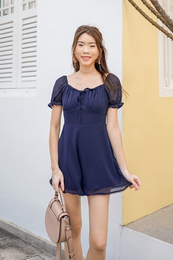 Shirring Reverie Tie Bust Romper Navy Blue