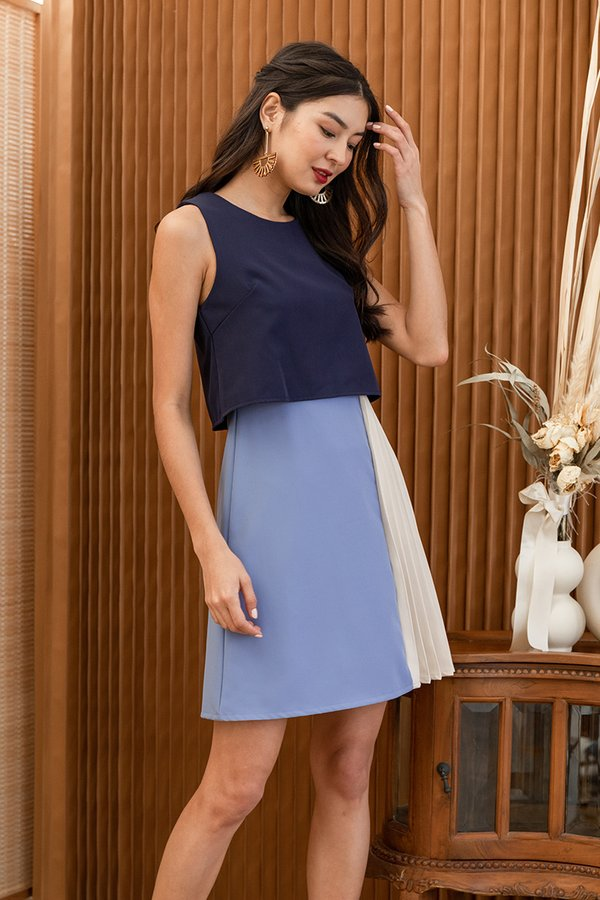 You Com-pleat Me Colourblock Overlay Dress Navy Blue