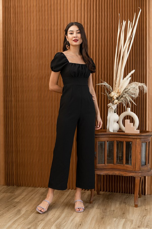Sartorial Shirring Moment Jumpsuit Black