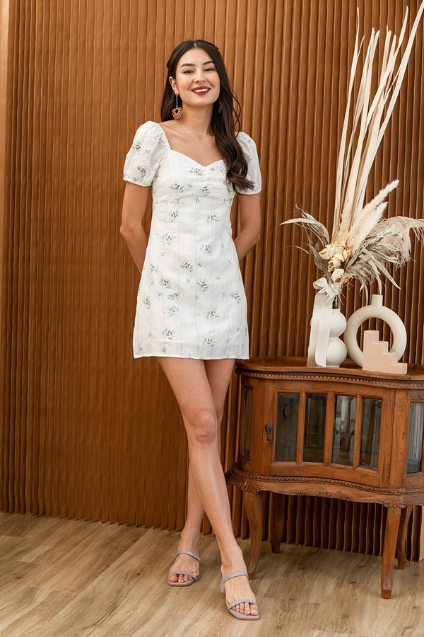 Cottagecore Camellias Floral Dress White