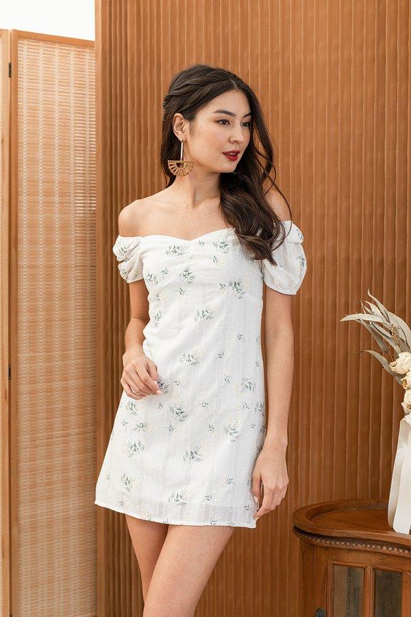 Cottagecore Camellias Floral Dress White
